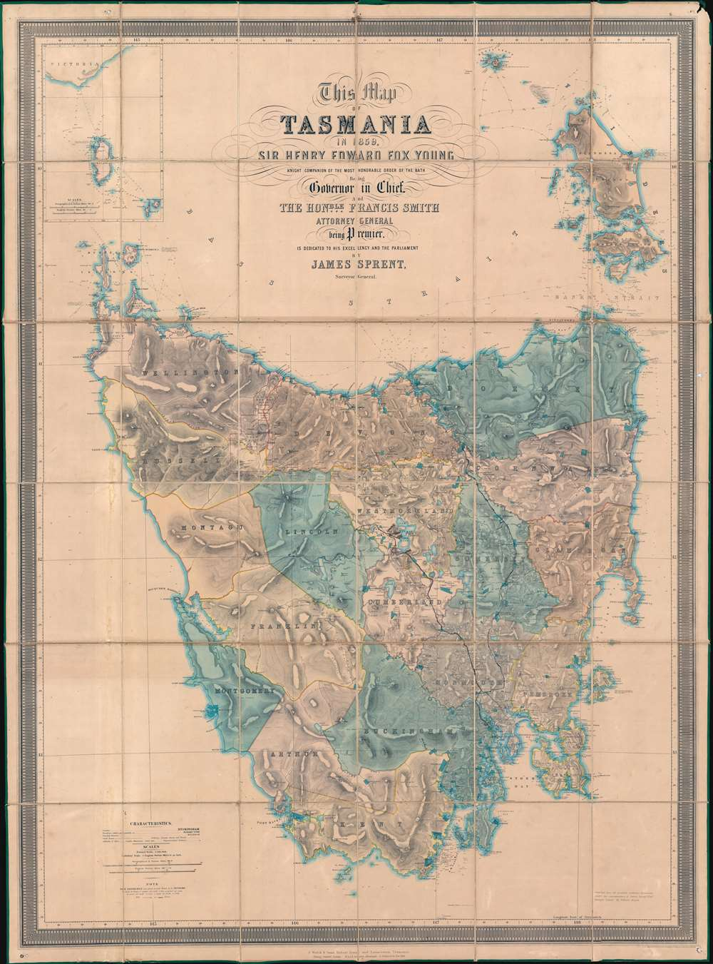 This Map of Tasmania in 1859, Sir Henry Edward Fox Young Knight Companion of the Most Honorable Order of the Bath Being Governor in Chief, and teh Honble. Francis Smigh Attorney General being Premier is dedicated to his Excellency and the Parliament by James Sprent, Surveyor General. - Main View