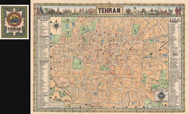 1958 sahab pictorial map of tehran iran
