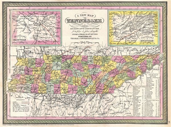 A New Map of Tennessee with its Canals, Roads & Distances from place to place, along the Stage & Steam Boat Routes. - Main View