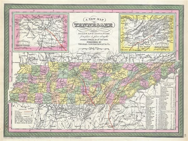 A New Map of Tennessee with its Roads and Distances from place to place along the Stage and Steam Boat Routes. - Main View