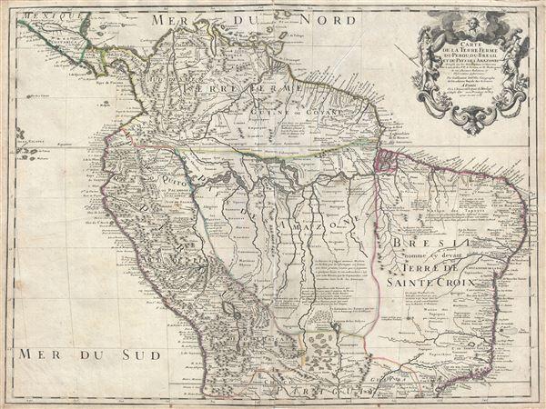 Carte de la Terre Ferme, du Perou, du Bresil, et du Pays des Amazones.