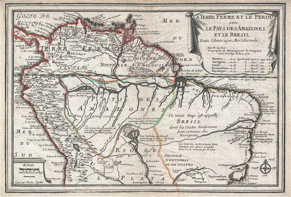 La Terre Ferme et le Perou avec le Pays des Amazones et le Bresil dans l'Amerique Meridionale.