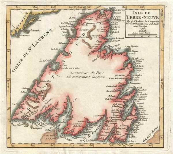 Isle de Terre-Neuve. Par le Sr. Robert de Vaugondy Fils de Mr. Robert Geog ord. du Roi.