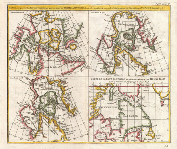 CARTE qui represente les différentes connoissances que l'on a eues des TERRES ARCTIQUES depuis 1650 jusqu'en 1747 ausquelles il faut comparer la Carte suivante Cte 10 Par M de Vaugondy 1773