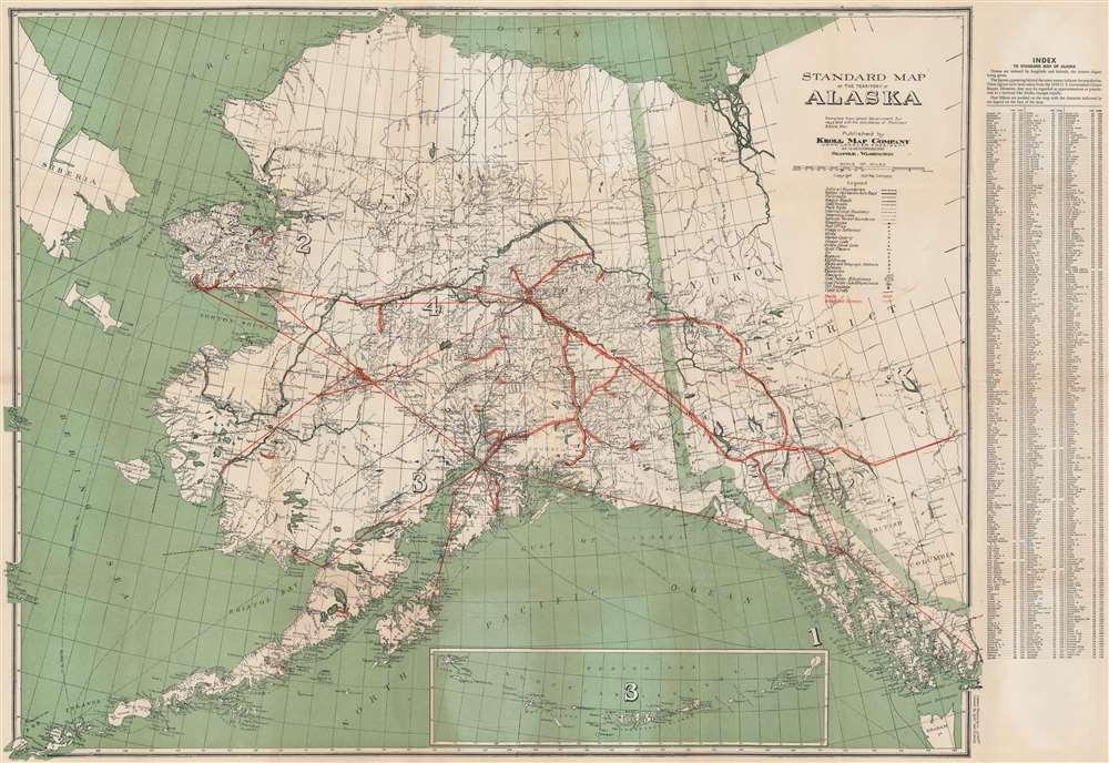 1940 Kroll Map Company Map of Alaska