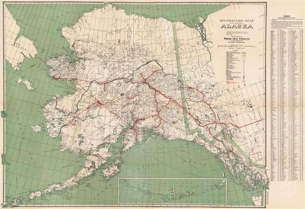 1940 Kroll Map Co. Map of Alaska