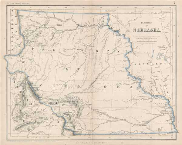 1857 Rogers and Johnston Map of the Nebraska Territory at its largest