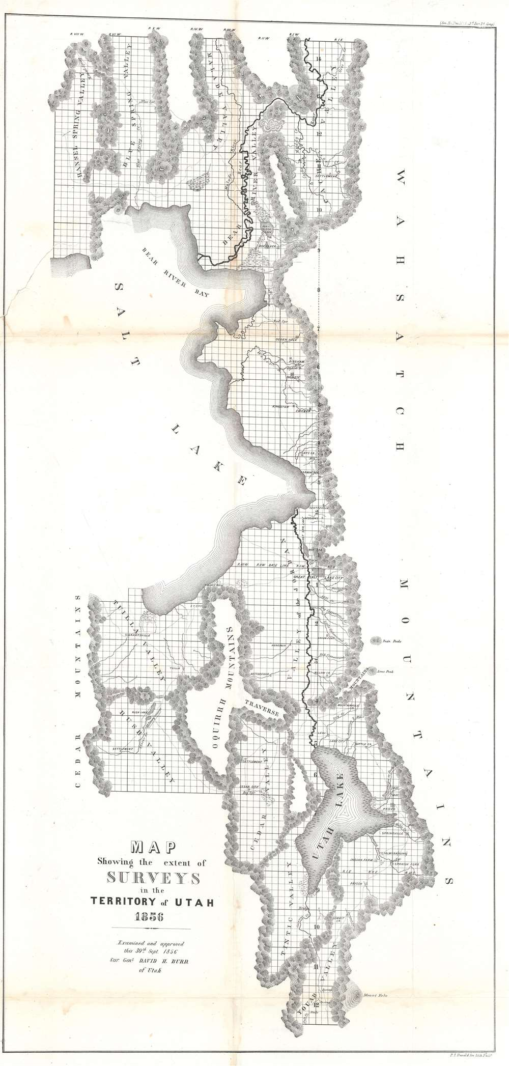 Map Showing the extent of Surveys in the Territory of Utah.