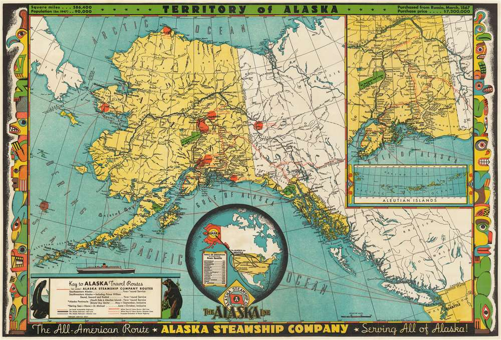 Territory of Alaska. The All-American Route - Alaska Steamship ... on all the states of america, all japan map, all colonies map, all america list, all asia map, all europe map, all european countries map, all america cities, all mountains map, all constellation map, all us national parks map, american map, all the continents map, all alabama map, all states map,