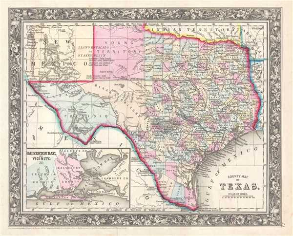 1861 Mitchell Map of Texas