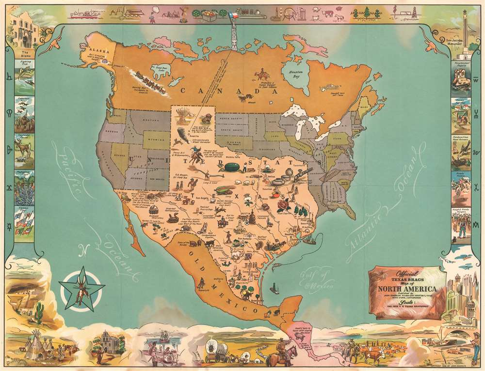Official Texas Brags Map of North America. - Main View