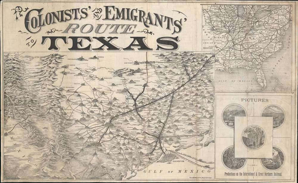 1877 Rand McNally 'Colonists and Emigrants' Map of Texas