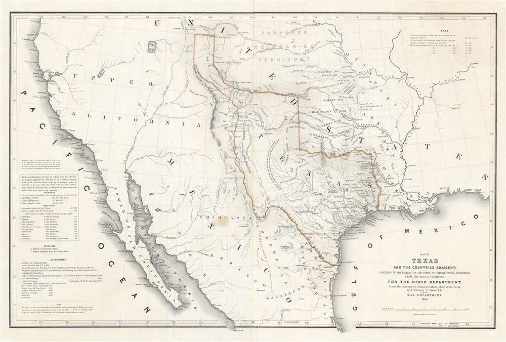 Map of Texas and the Countries Adjacent: Compiled in the Bureau of the Corps of Topographical Engineers; From The Best Authorities, for the State Department, Under the Direction of Colonel J. J. Abert, Chief of the Corps; by W. H. Emory, 1St. Lieut. T.E. - Main View