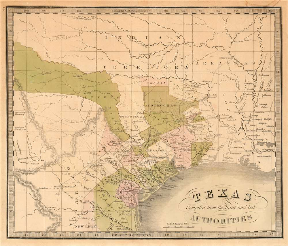 1842 Greenleaf Map of the Republic of Texas