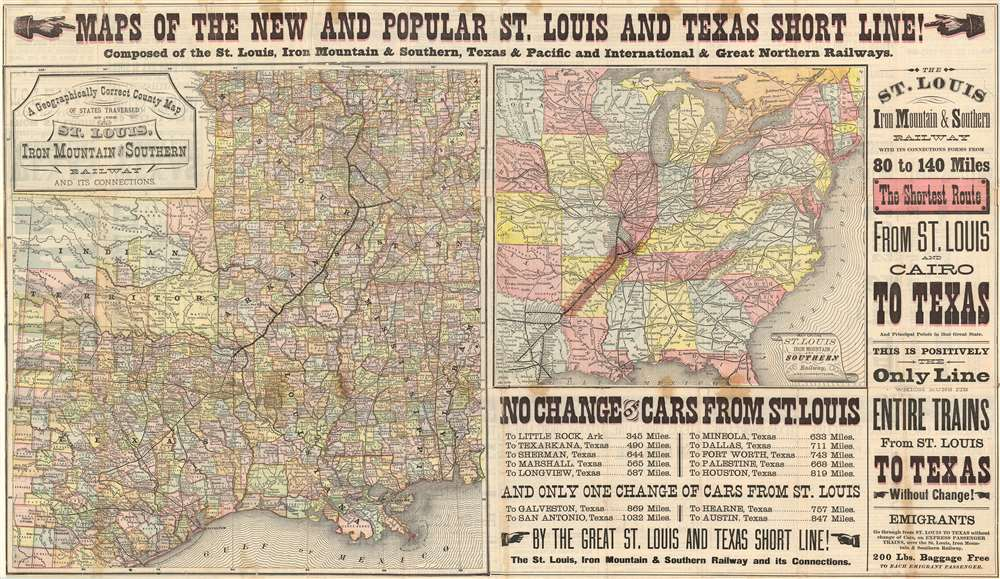 1878 St. Louis Texas Short Line Railroad Braodside: St. Lous to Texarkana