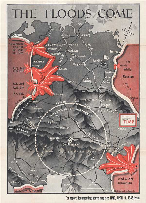 1945 Chapin Map of Central Europe for TIME Magazine