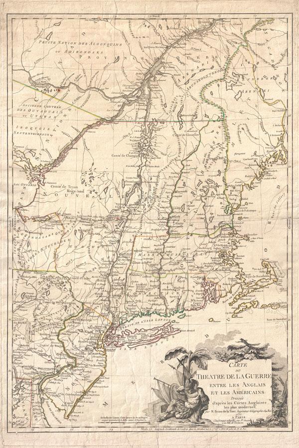 Carte du Theatre de la Guerre entre les Anglais et Les Americains.