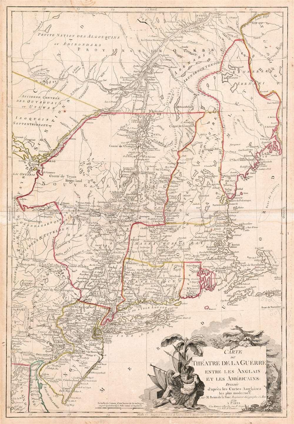 Carte du Theatre de la Guerre entre les Anglais et Les Americains. - Main View