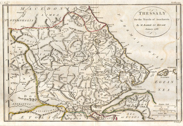 Bocage's Map of Thessaly in Ancient Greece (the home of Achilles.
