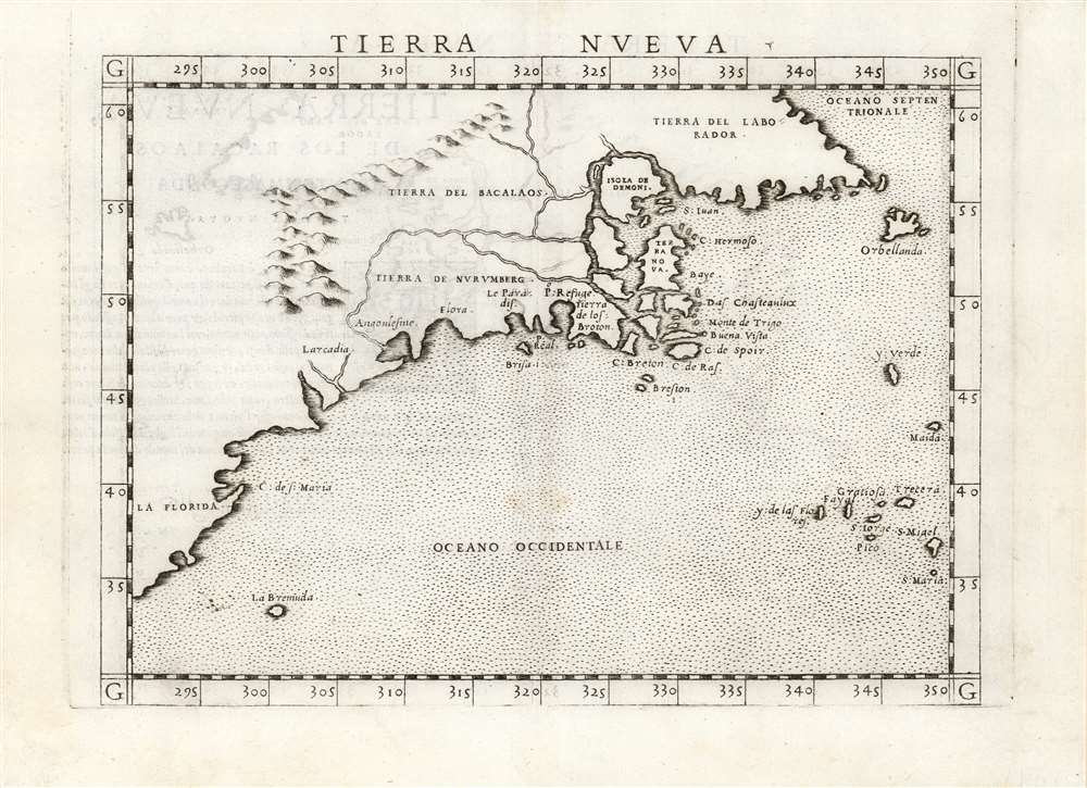 1561 Ruscelli Map of New England and the Maritimes (A true 1561 First Issue)