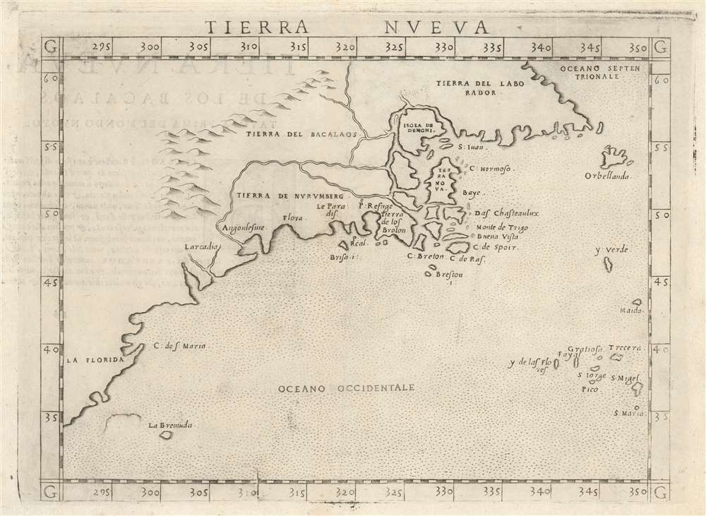 1574 Ruscelli Map of New England and the Maritimes (Norumbega)
