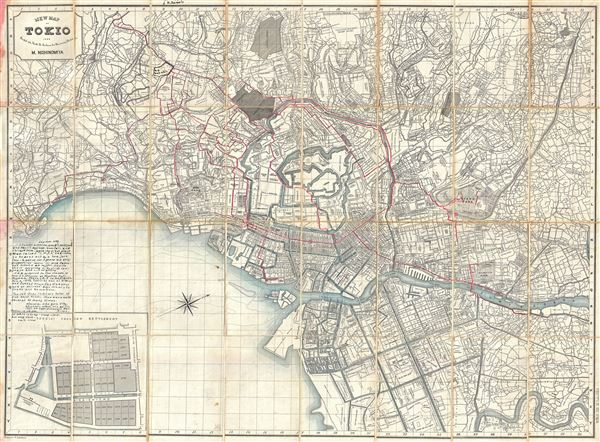 New Map of Tokio Divided into Ninth Ri Sections for Measuring Distances. - Main View