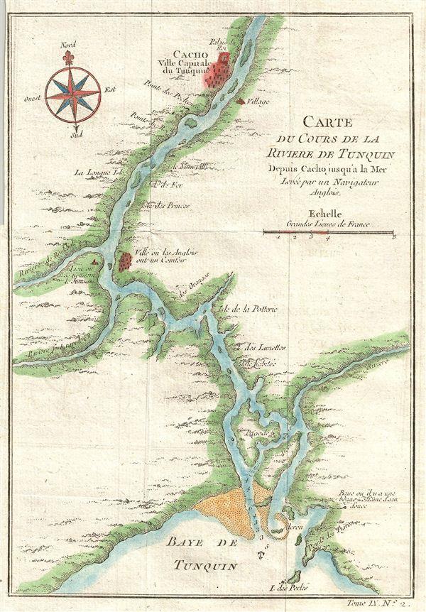Carte Du Cours De La Riviere De Tonquin Depuis Cacho jusqu'a la Mer, Levee par un Navigateur Anglois.