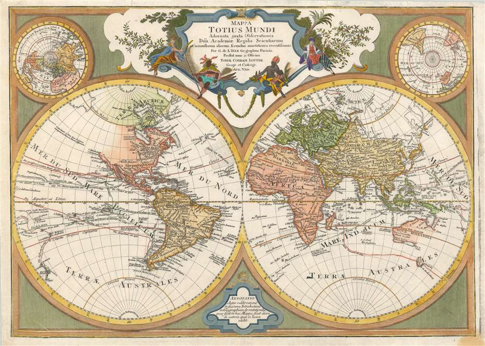 1775 Lotter Map of the World in Hemispheres