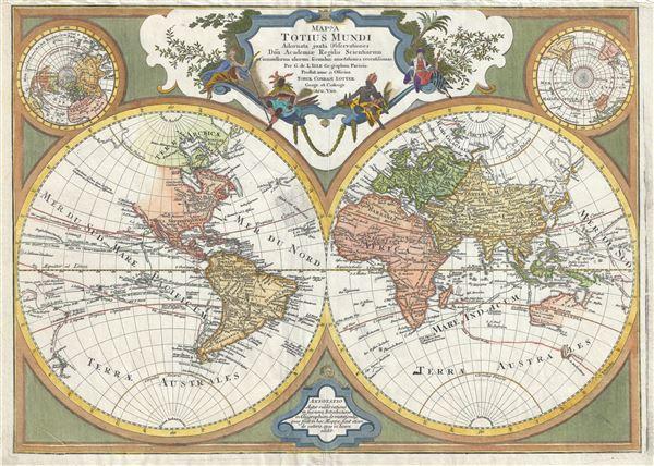 Mappa totius mundi : adornata juxta observationes dnn. academiae regalis scientiarum et nonnullorum aliorum secundum annotationes recentissimas.