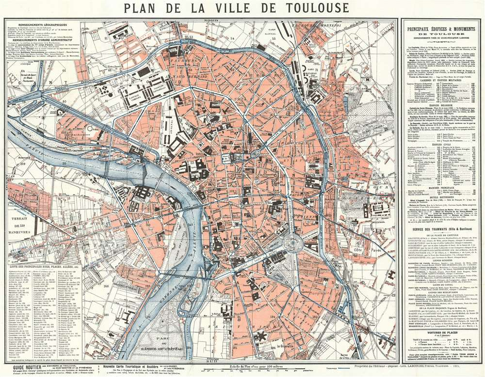 1921 Labouche Freres City Map or Plan of Toulouse, France