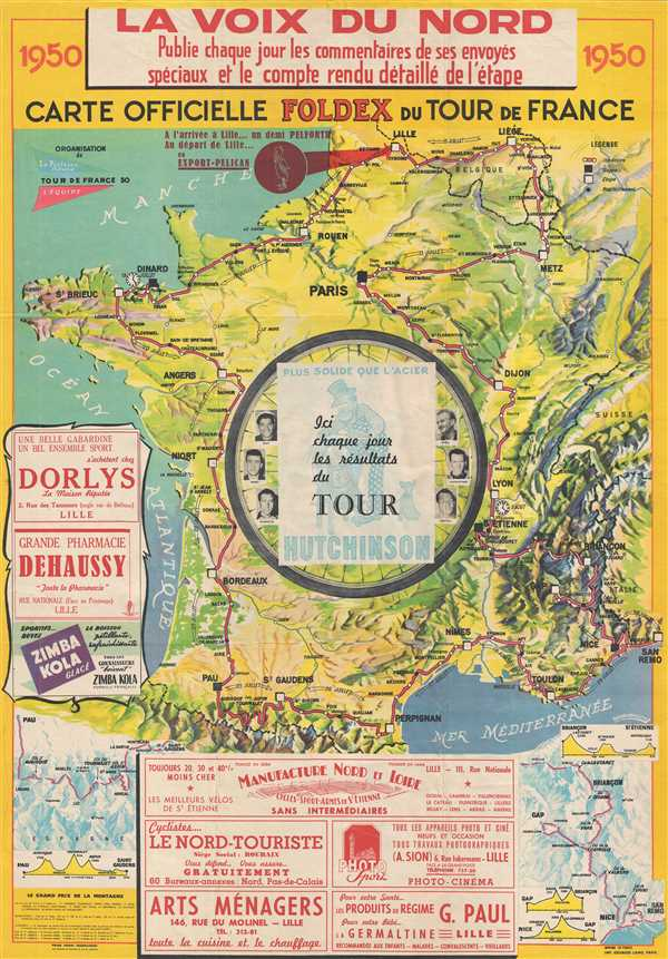 Carte Officielle FOLDEX du Tour de France.