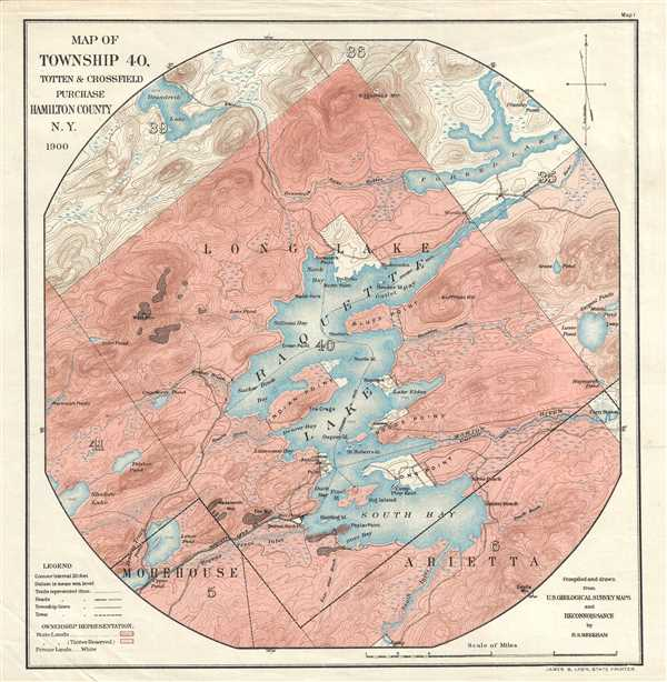 Map of Township 40, Totten and Crossfield Purchase. Hamilton County, N.Y.