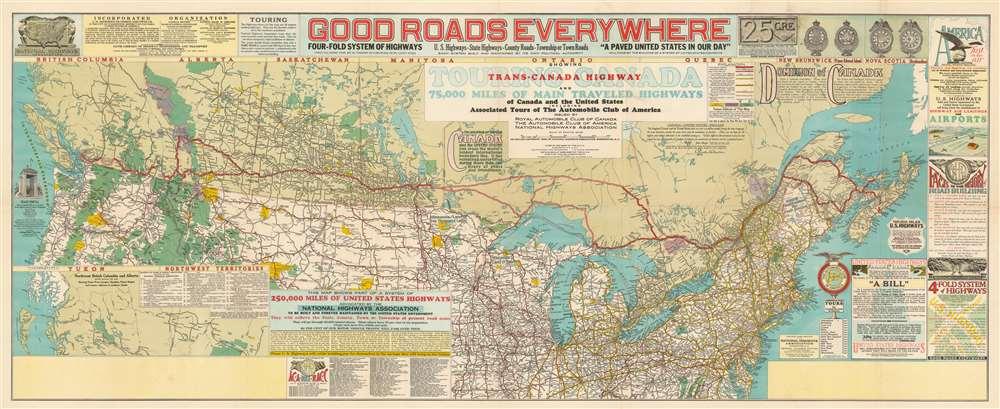 1928 NHA Map of the Trans-Canada Highway: highway propaganda!