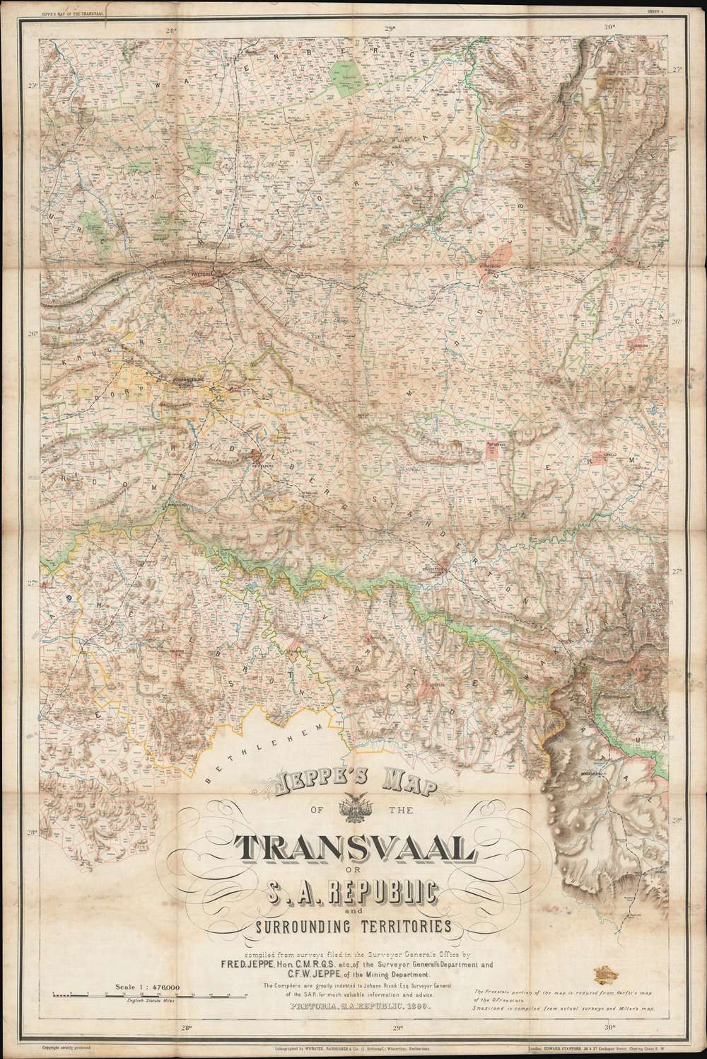 Jeppe's Map of the TRANSVAAL S. A. Republic and Surrounding Territories. - Alternate View 1