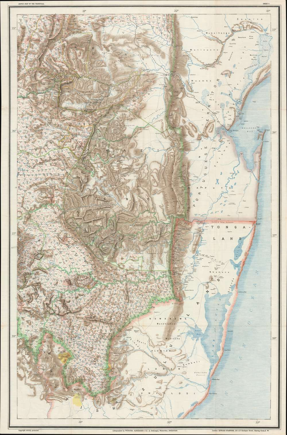 Jeppe's Map of the TRANSVAAL S. A. Republic and Surrounding Territories. - Alternate View 2