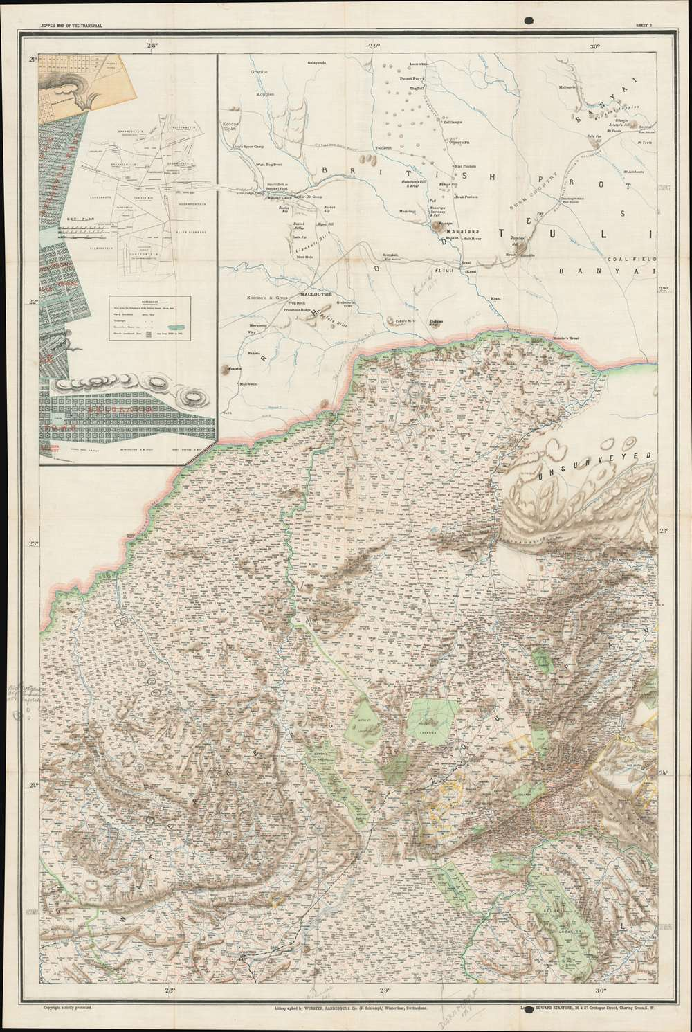 Jeppe's Map of the TRANSVAAL S. A. Republic and Surrounding Territories. - Alternate View 4