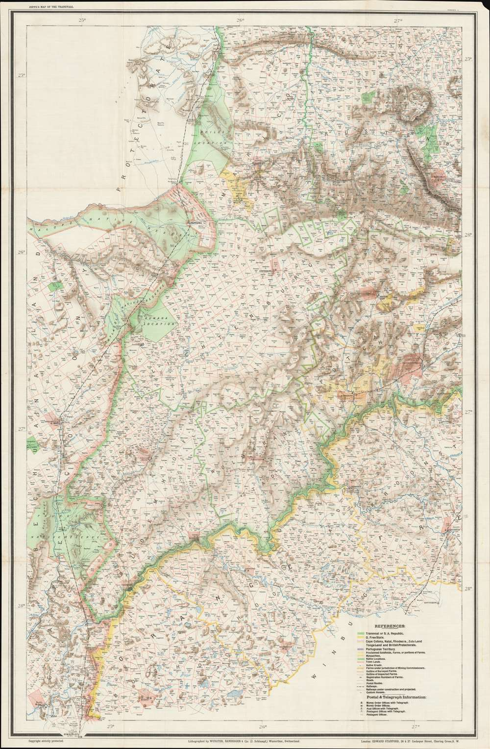 Jeppe's Map of the TRANSVAAL S. A. Republic and Surrounding Territories. - Alternate View 5