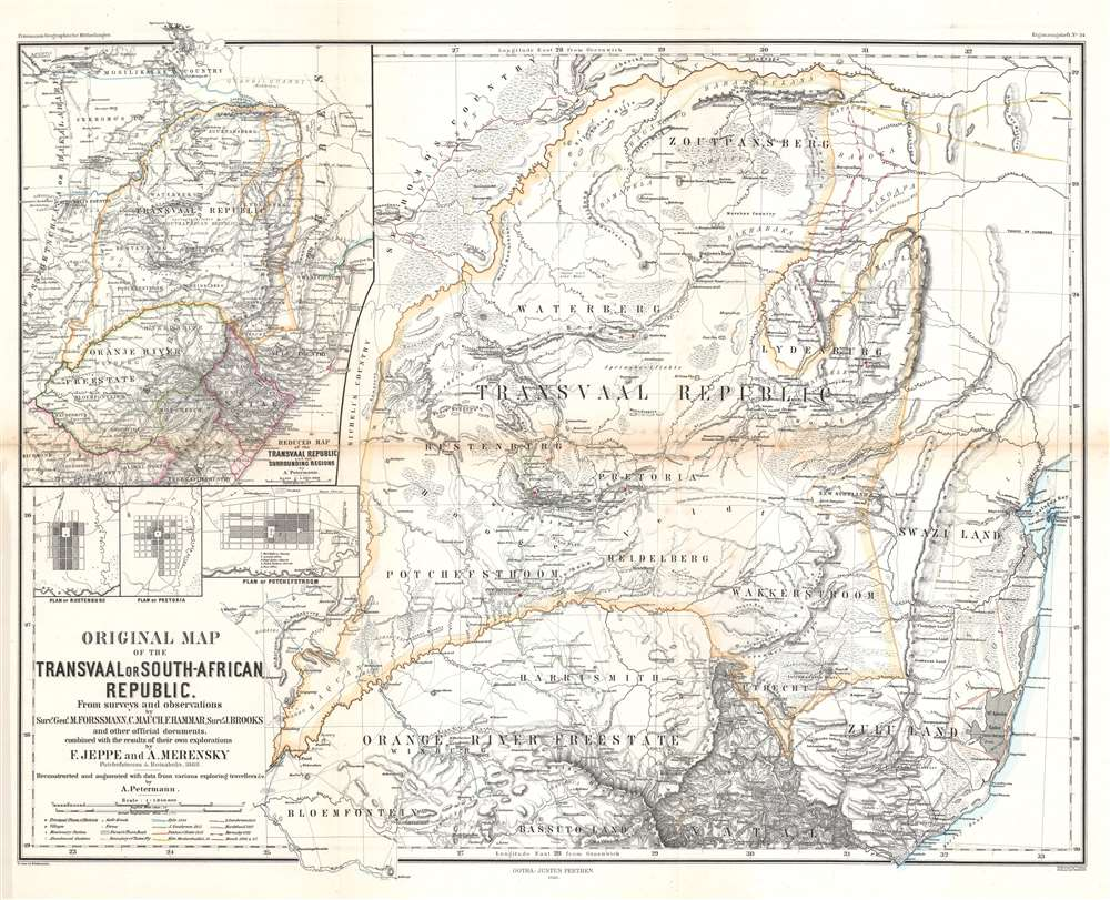 Original Map of the Transvaal or South-African Republic. - Main View