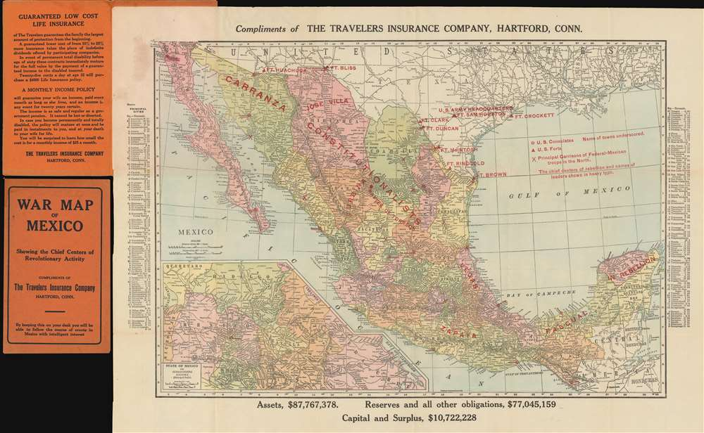 1913 Travelers Insurance Company Map of the Mexican Revolution