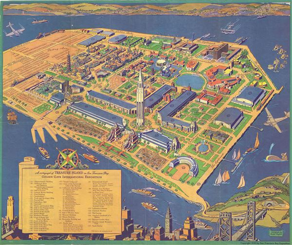 A Cartograph of Treasure Island in San Francisco Bay Golden Gate  International Exposition. - Main View