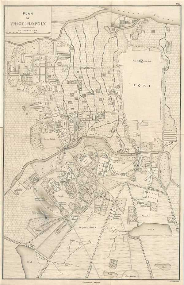 Details about 1854 Pharoah Map of Tiruchirappalli, Tamil Nadu, India  (Trichy or Tiruchi)