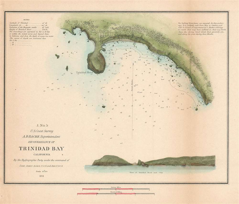1851 U.S. Coast Survey Chart or Map of Trinidad Bay, California