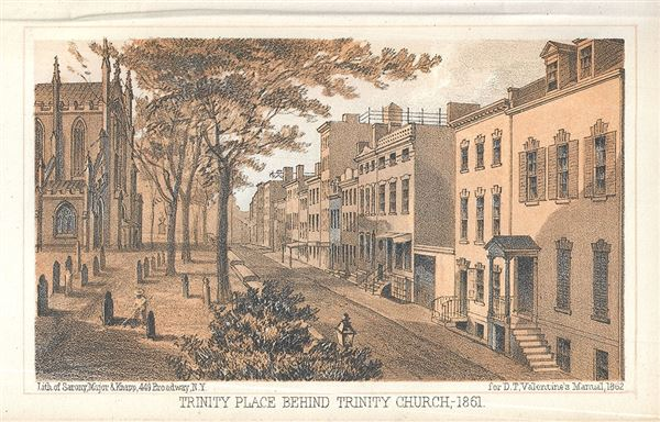 Trinity Place Behind Trinity Church - 1861.