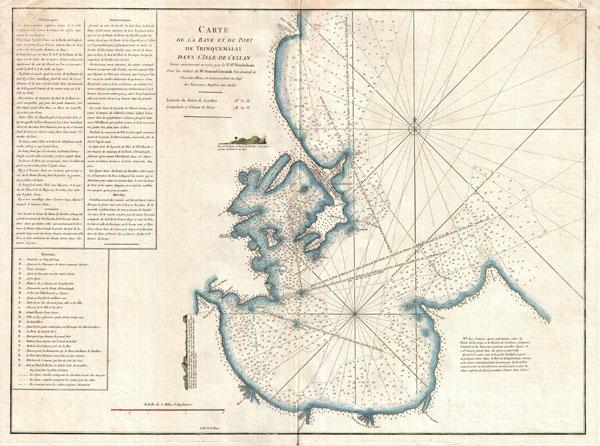 Carte de la Baye et du Port de Trinquemalay dans L'Isle de Ceylan.