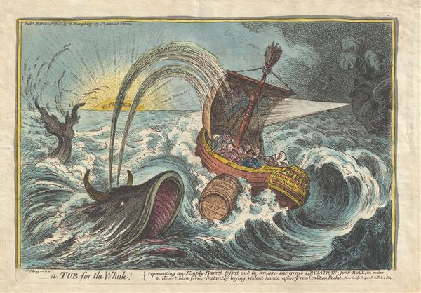 A Tub for the Whale; representing an Empty Barrel tossed out to amuse the great Leviathan - John Bull, in order to divert him from instantly laying violent hands upon ye new Coalition Packet.