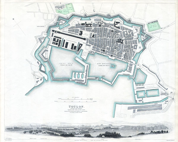 City Plan of Toulon, France.