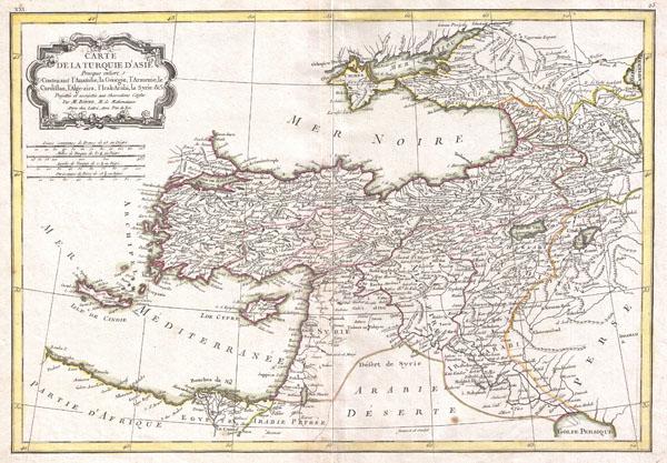 Carte de la Turquie D'Asie Presque entiere Contenant L'Anatolie, La Georgie,L'Armenie, Le Curdistan, L'Alge-zira, L'Irak-Arabi, La Syrie & c.