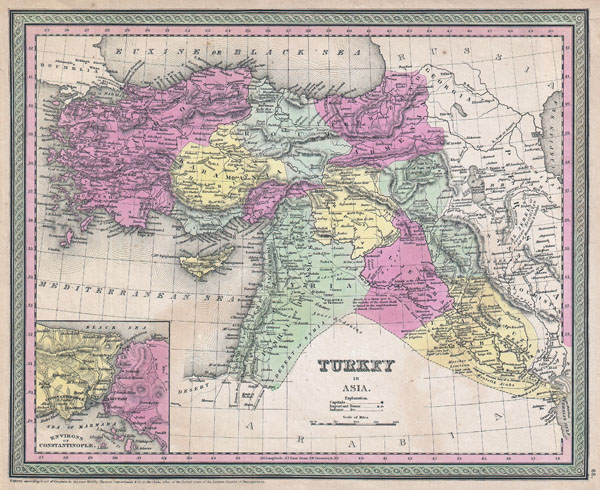 1853 Mitchell Map of Turkey in Asia ( Palestine, Syria, Iraq, Turkey )