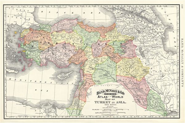 Map of Turkey in Asia. (Asia Minor).