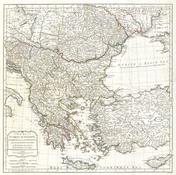 A New Map of Turkey in Europe Divided into all its Provinces' with the Adjacent Countries in Europe and Asia: Drawn Chiefly from the Maps Published by the Imperial Academy of St. Petersburg.